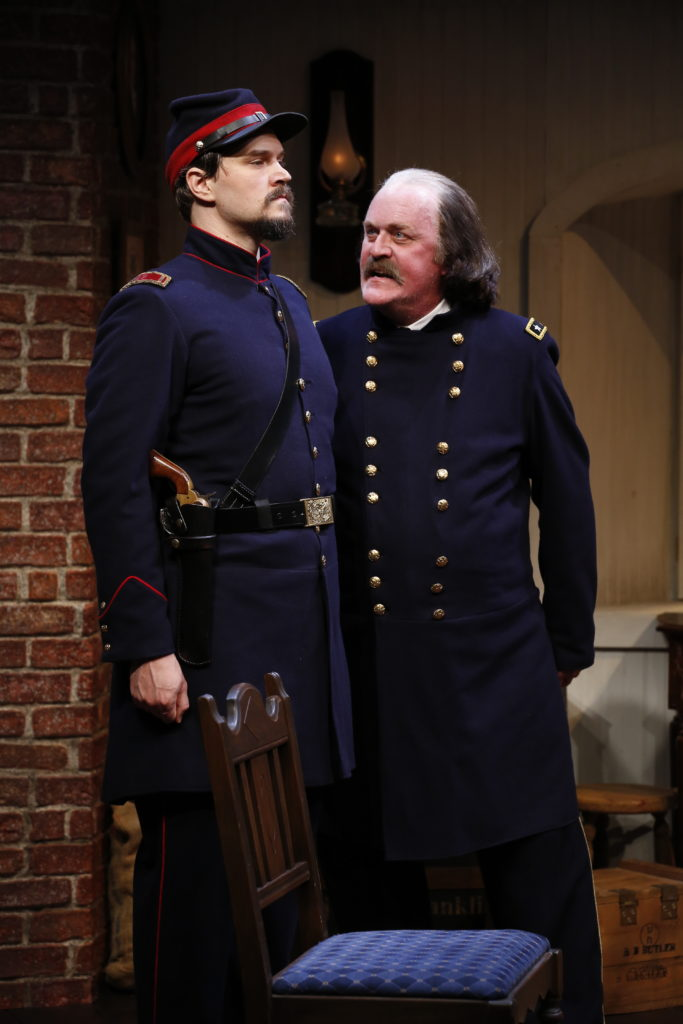 L-R: Benjamin Sterling (as Lieutenant Kelly) and Ames Adamson (as Benjamin Butler) in Richard Strand's BUTLER, directed by Joseph Discher, at 59E59 Theaters. Photo by Carol Rosegg